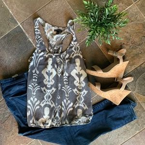 Gray and White Patterned Tank Top American Eagle